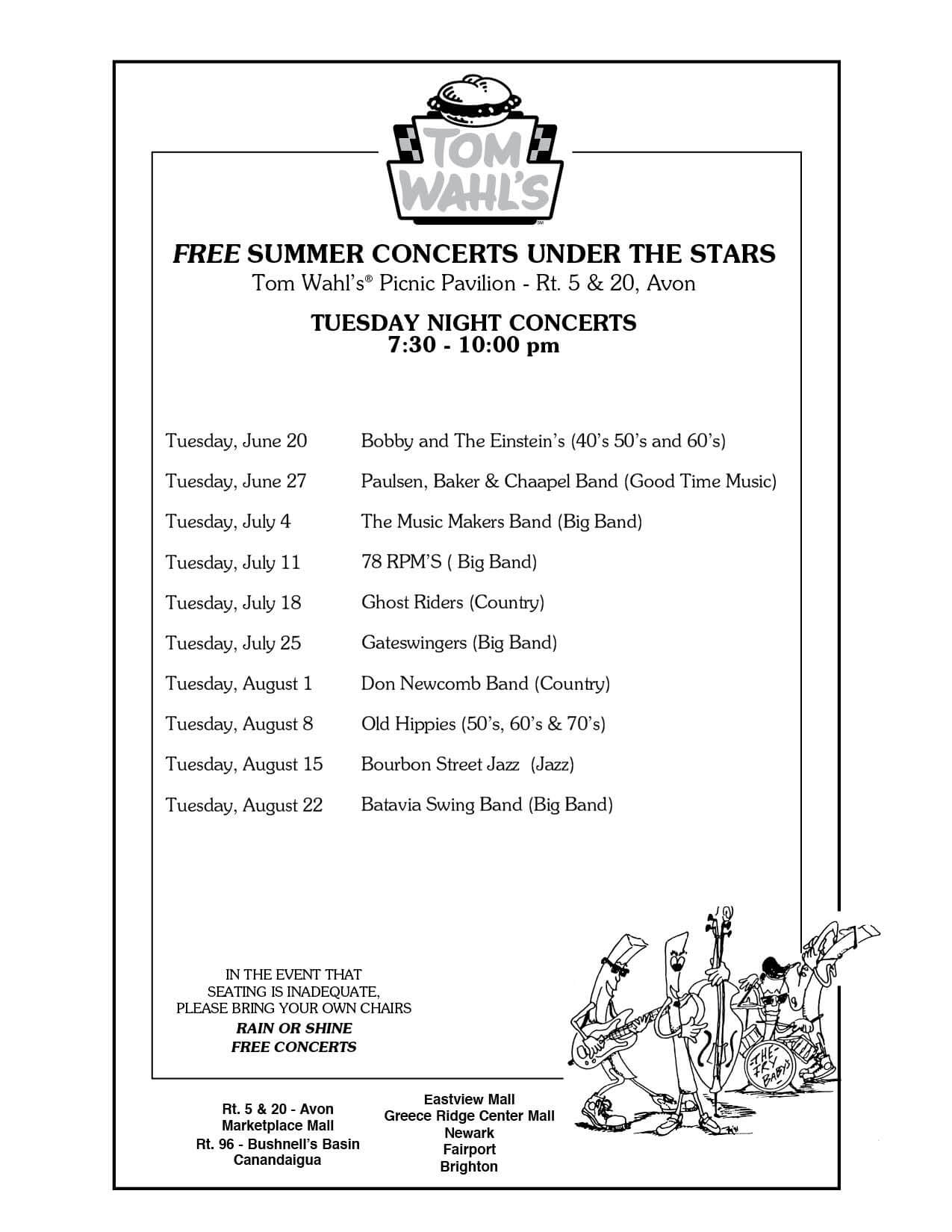 Free 2017 Summer Concerts Under The Stars | Tom Wahl's